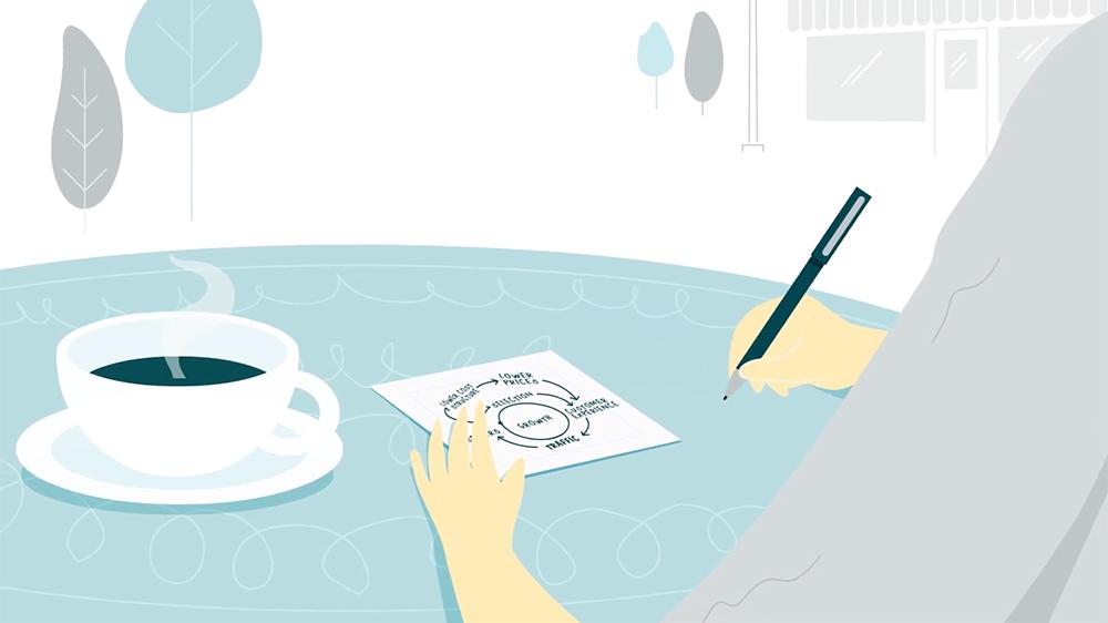 ilustración de Jeff Bezos escribiendo en una servilleta