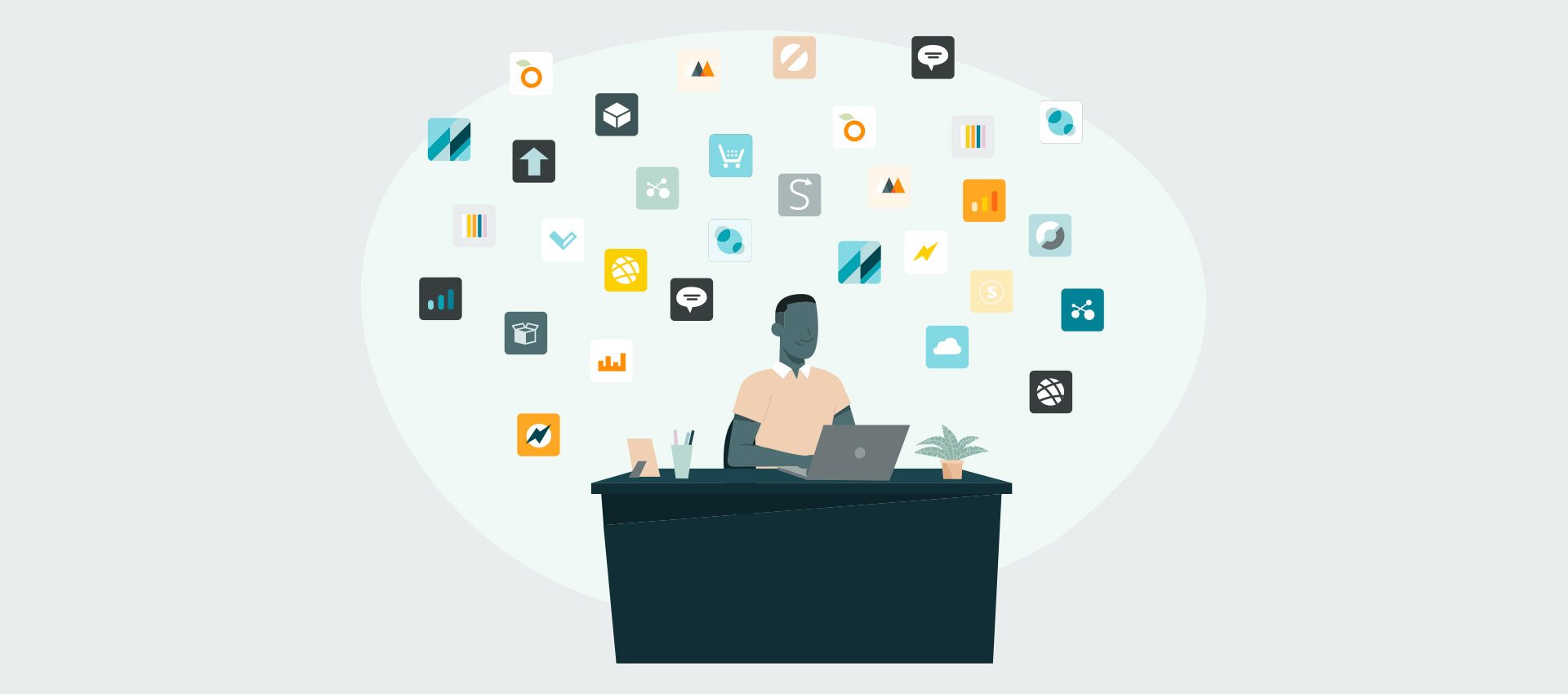 A person at a desk surrounded by icons representing fulfillment options