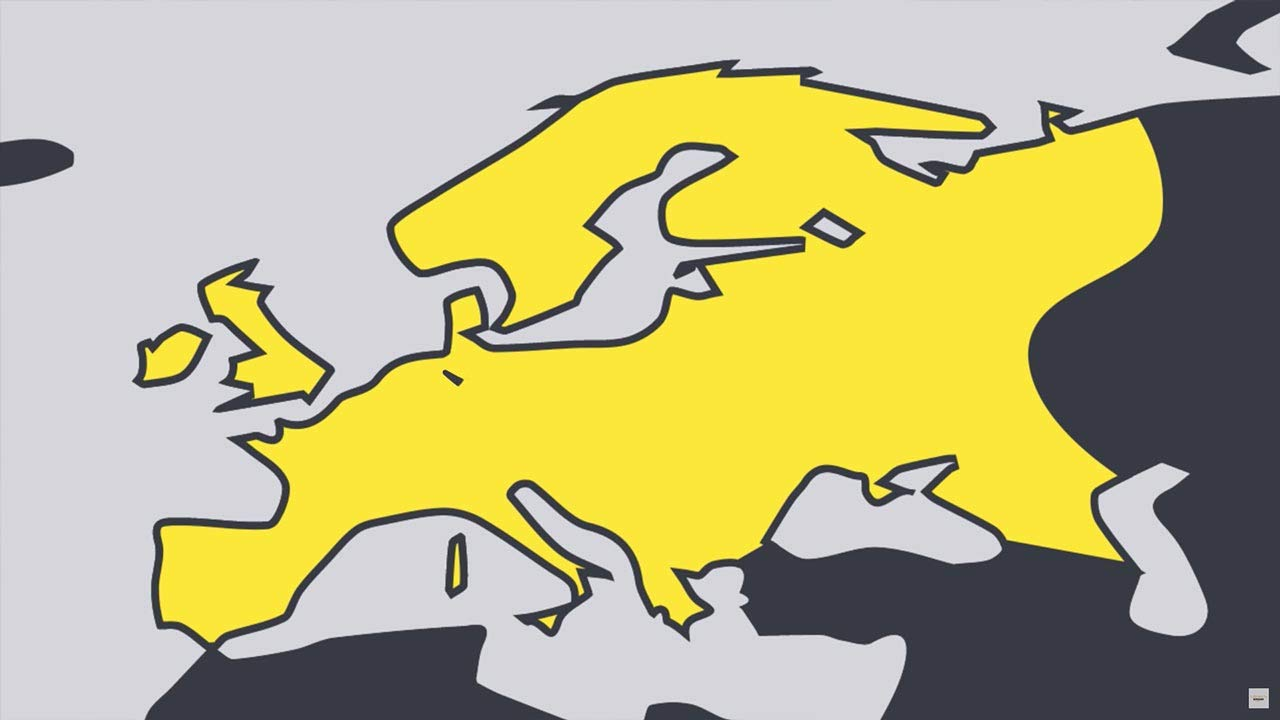 video thumbnail featuring line drawing of map of europe, colored yellow