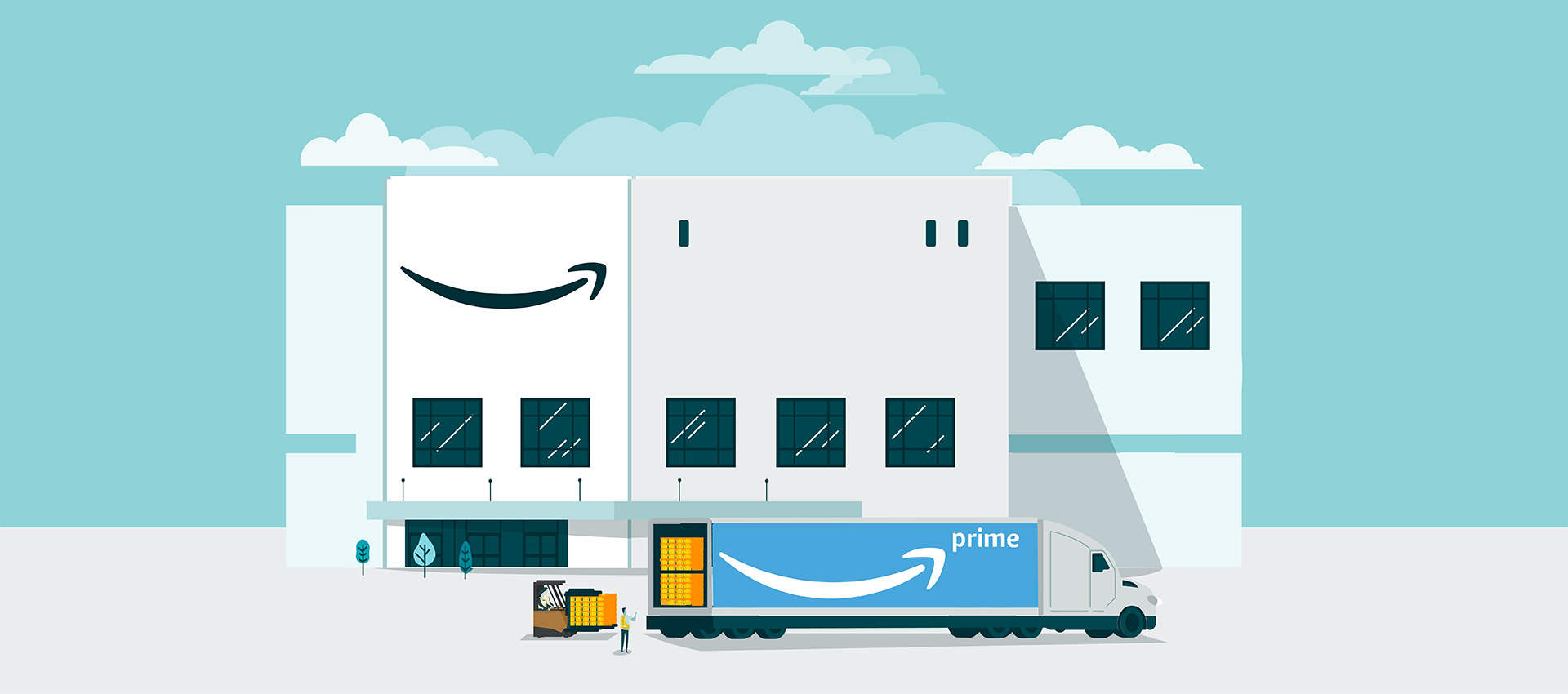 Workers load an Amazon Prime truck with customer orders in front of an Amazon fulfillment center