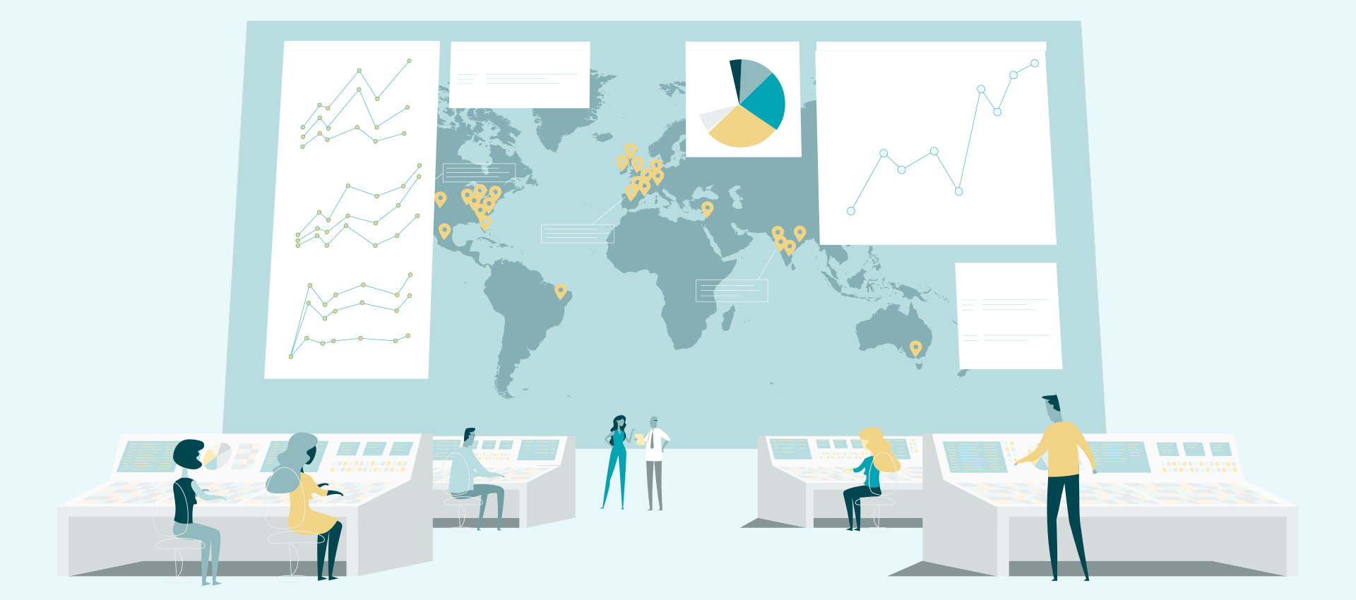 People at work in front of a giant map with charts representing global ecommerce