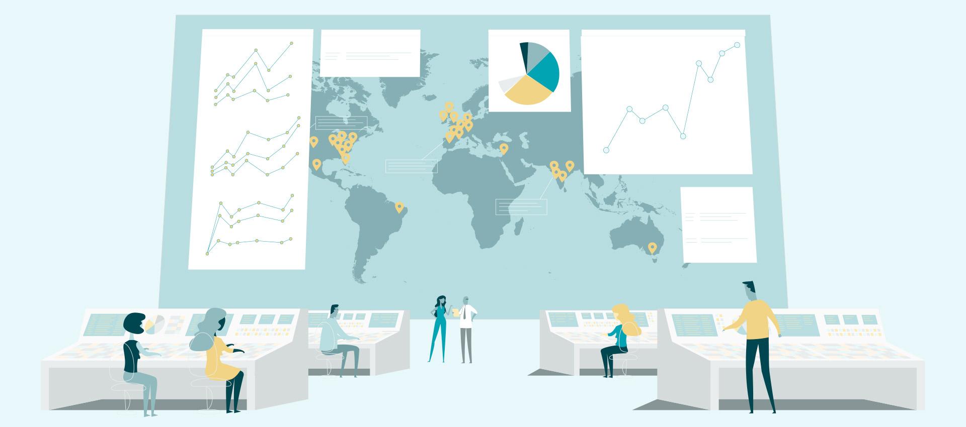 人们在拥有全球电子商务图表的庞大地图前工作
