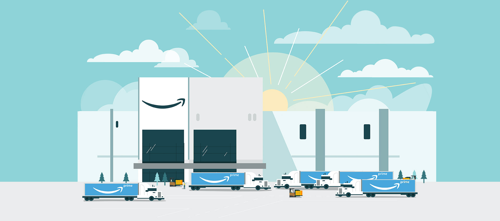 Amazon trucks get ready for delivery outside of a fulfillment center