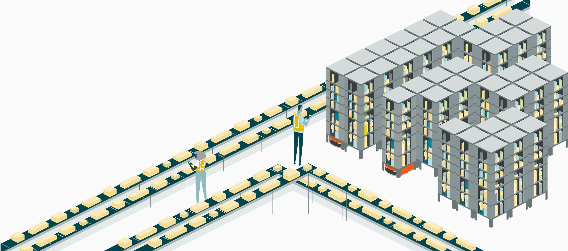 Fulfillment center operating with conveyer belts and shelves