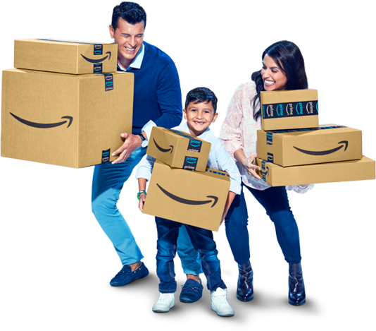 Family of Amazon customers happily holding the packages they received from an Amazon fulfillment center