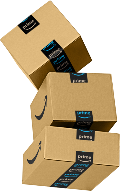 Stack of three different sizes of Amazon packages that are ready to be shipped