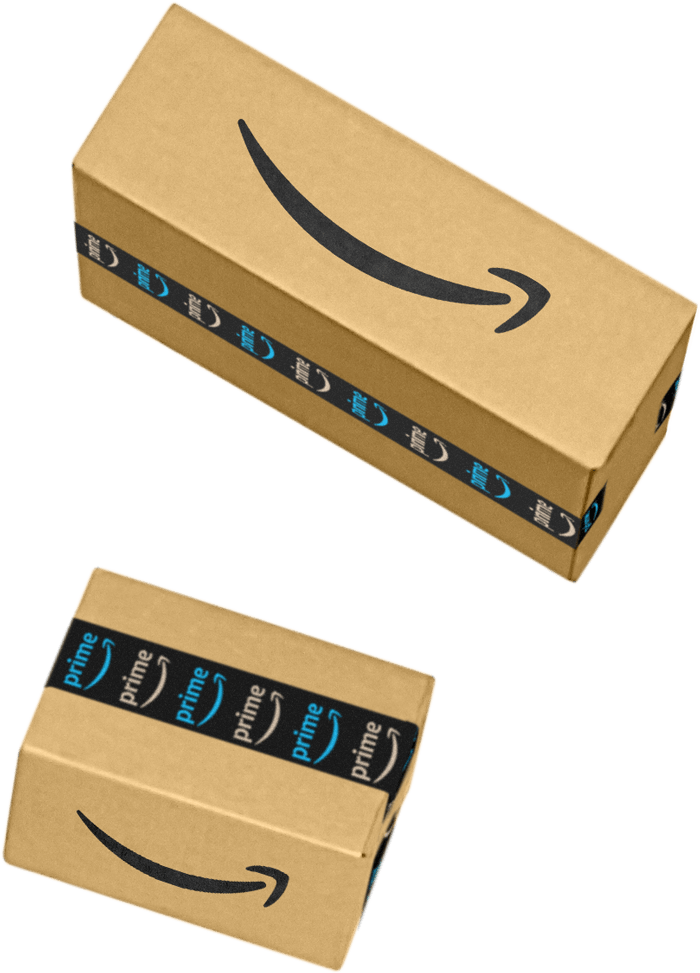 Two different sizes of Amazon packages that are ready to be shipped