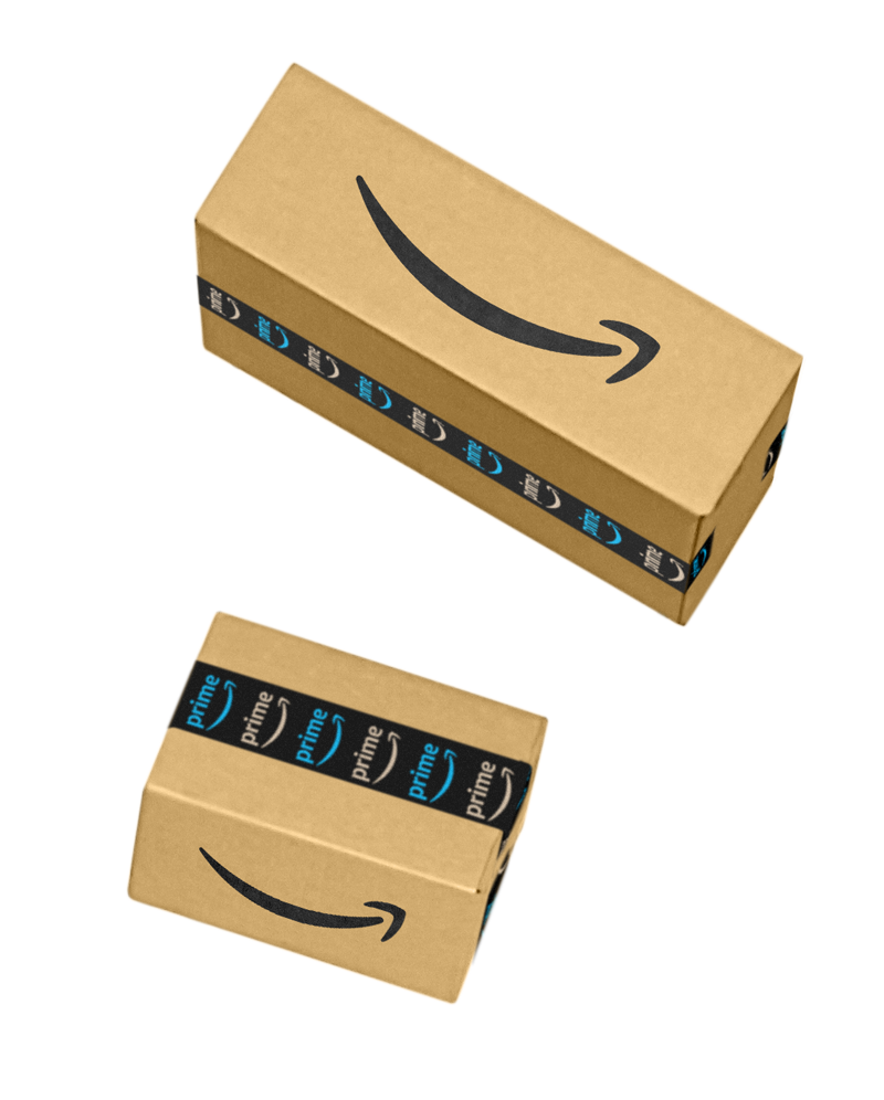 Two Amazon Boxes appearing to fall