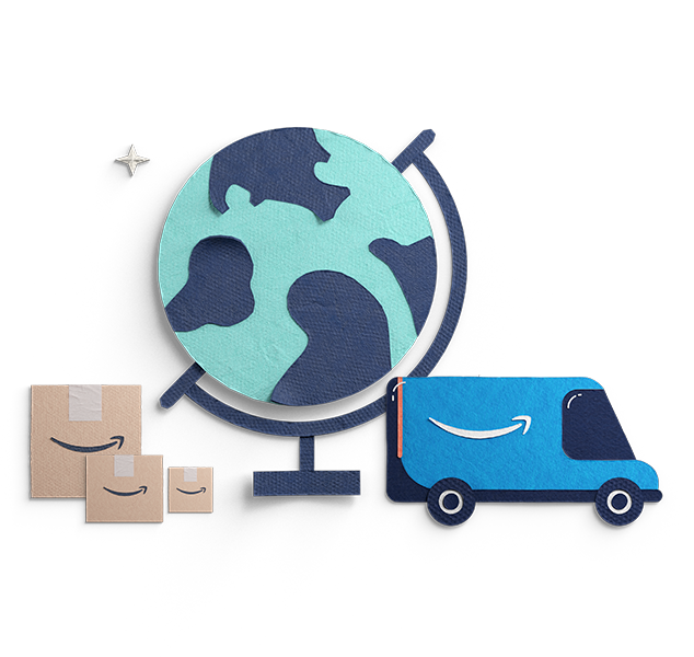 Illustration of a globe with Amazon Prime boxes and an Amazon Prime van