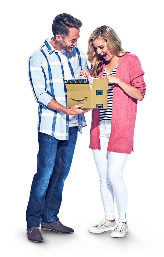 Man in a plaid shirt and woman in a pink sweater opening a package from Amazon fulfillment