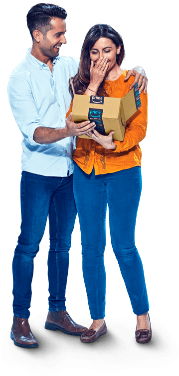 Couple opening box - woman in orange shirt
