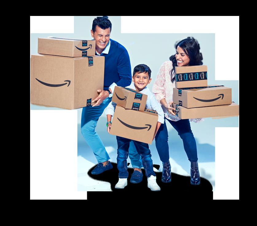 Boîte Amazon en équilibre sur son coin avec le logo Amazon affiché