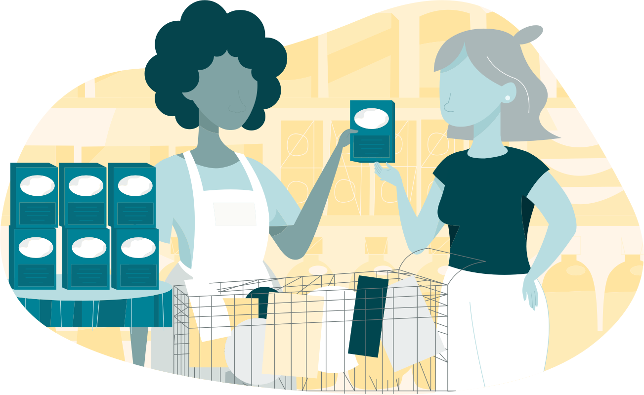 Illustration of a woman selling a product to another woman
