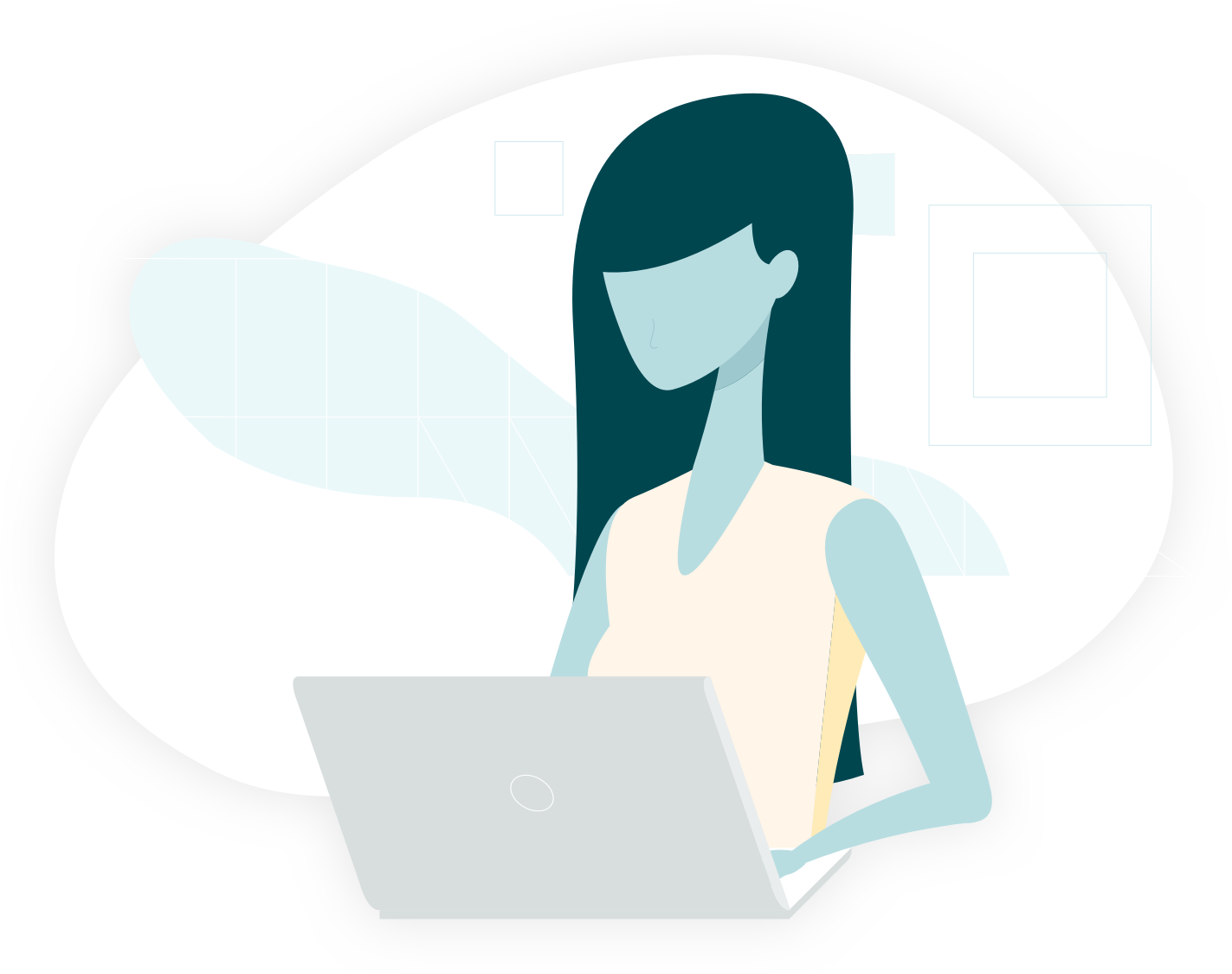 illustration of a woman working on her laptop