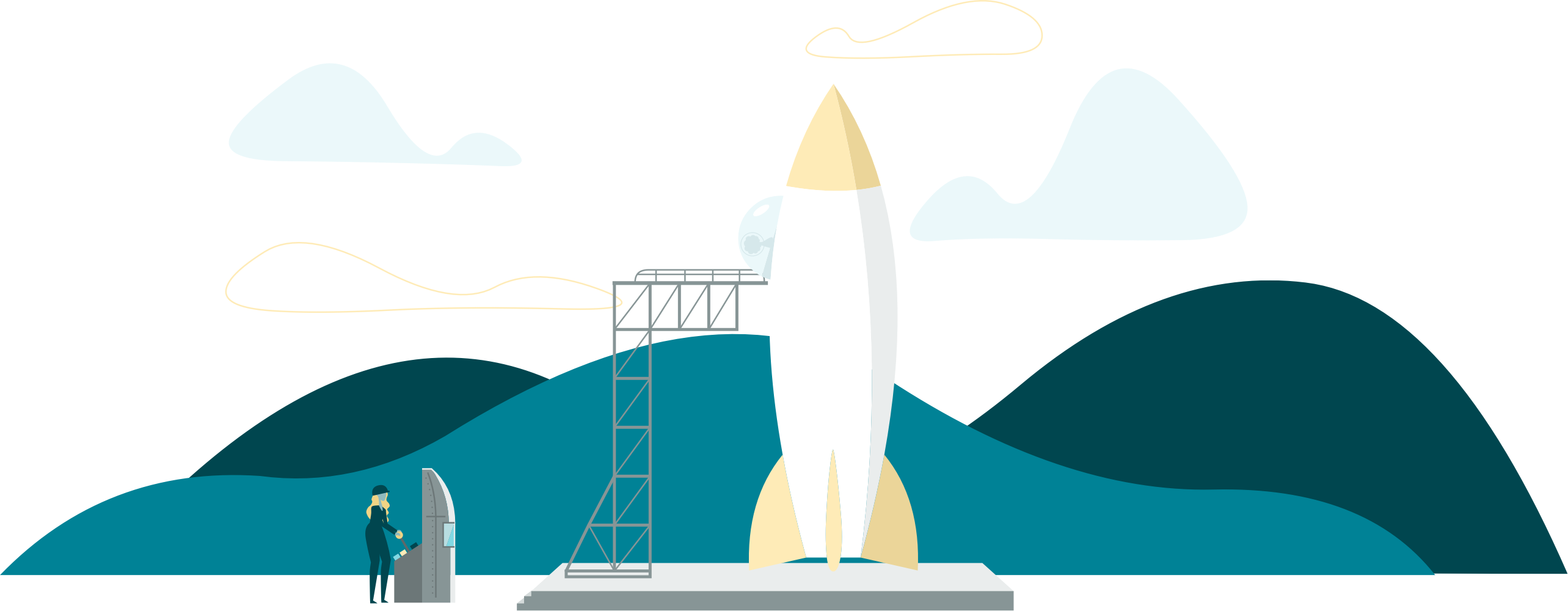 Illustration of a rocket about to launch
