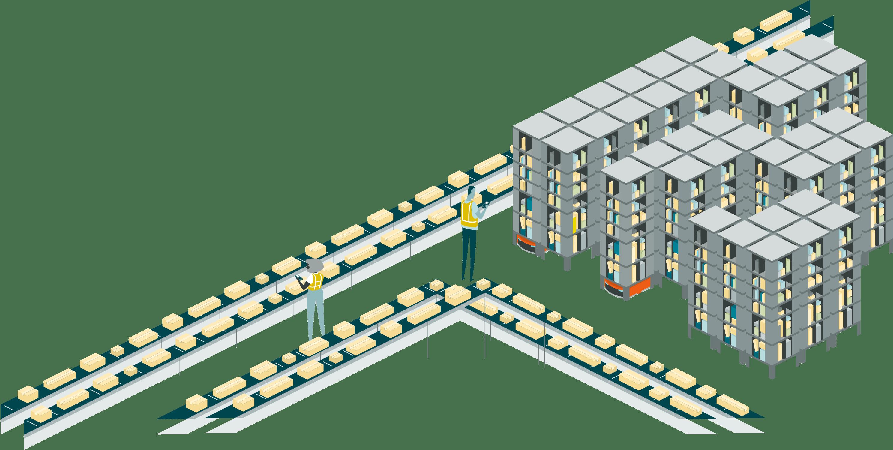 Ilustración. Canales con paquetes de Amazon en el centro de distribución.