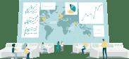 Ilustración: un centro de administración con gente monitoreando ventas.