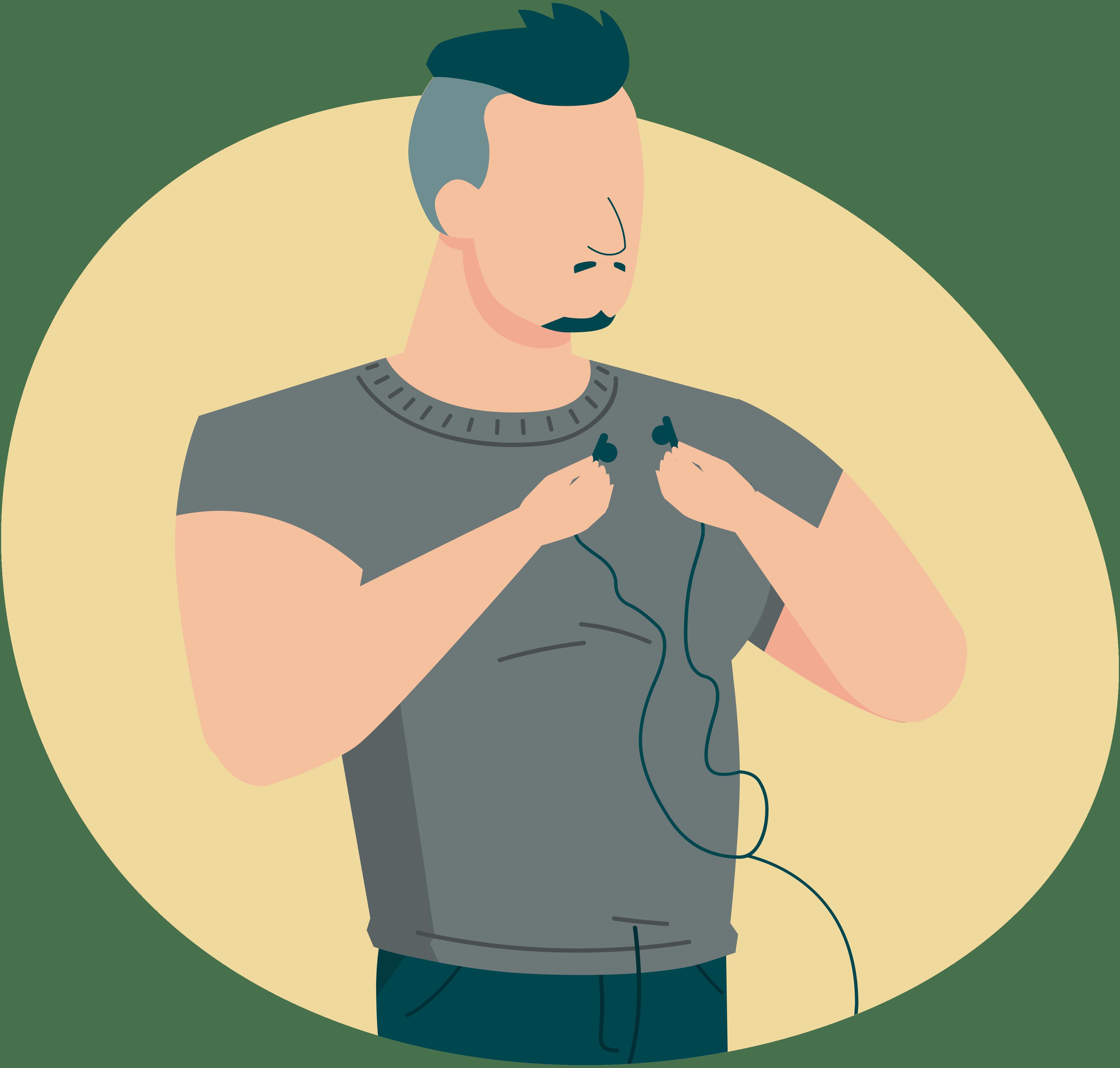 Ilustración de u hombre con unos audífonos aprendiendo