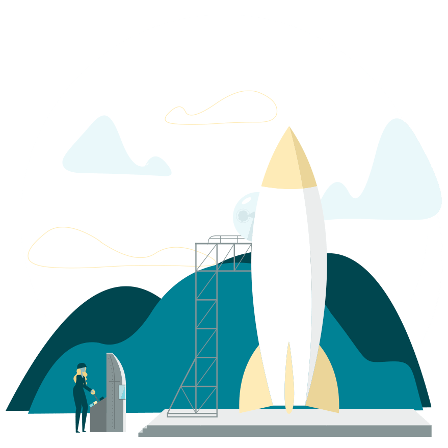 illustration of a rocket on a launchpad
