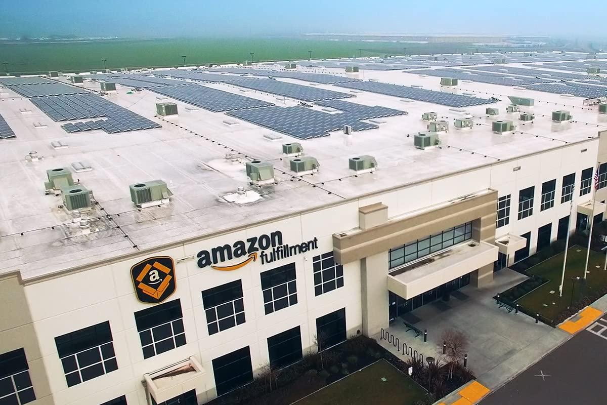 Amazon fulfillment center aerial view