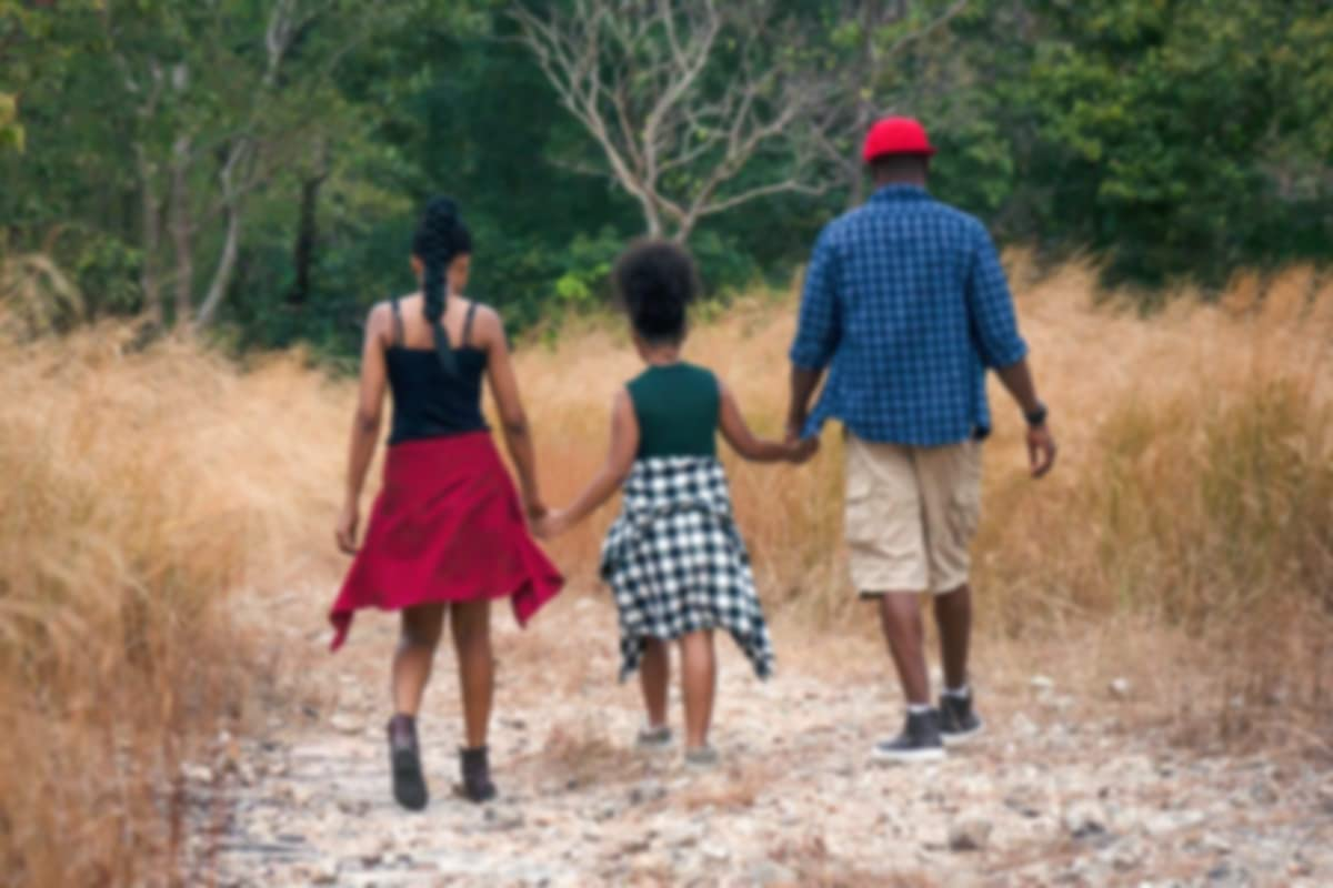 Family holding hands and walking in the woods