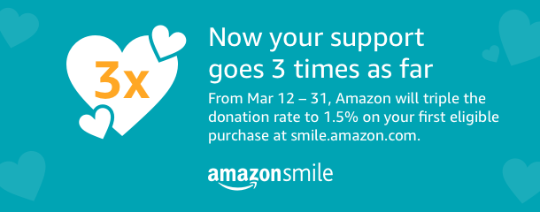 Amazon is tripling the donation amount to 1.5% when customers make their first eligible smile.amazon.com purchase from March 12 - 31.