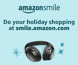 Winter themed Amazon smile photo with headphones