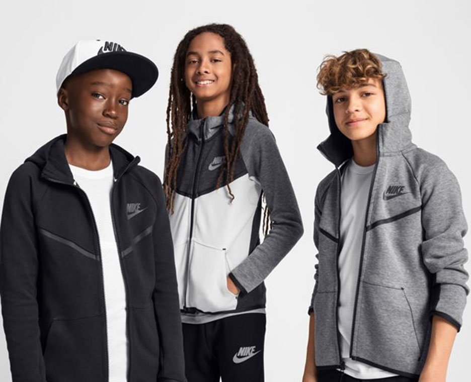 Image of boys wearing warm Nike clothing