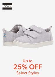 TOMS up to 25% off select styles.