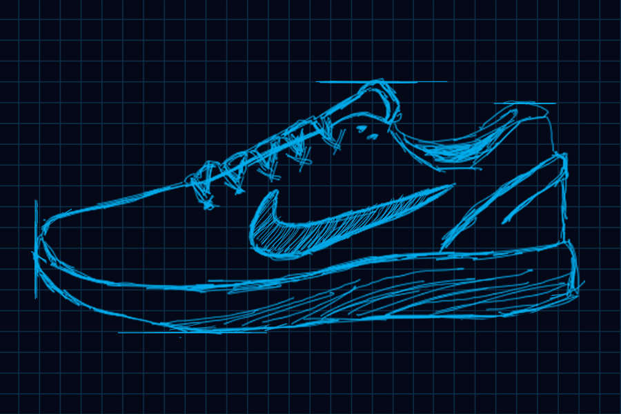 Image for an infographic detailing the history of the modern running shoe.