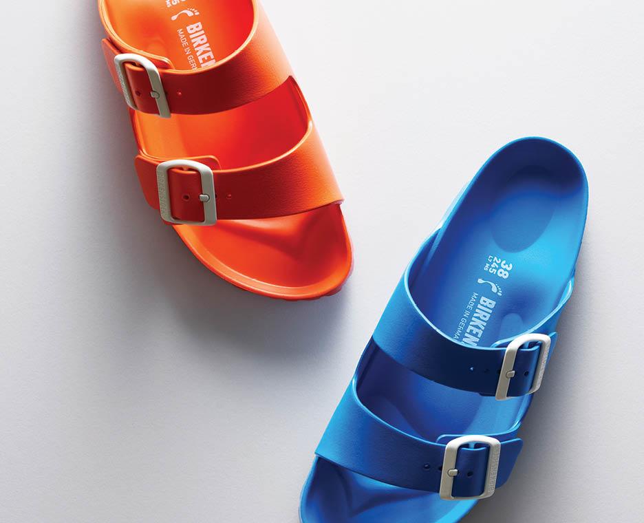 Image of fuzzy birkenstock shoe.