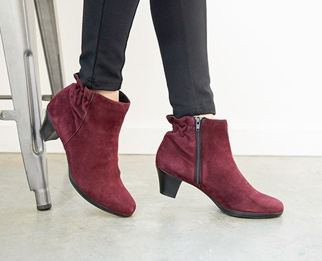Image of a Burgundy pair of Munro Booties.