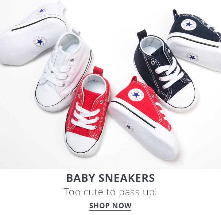 Baby Sneakers. Too Cute to pass up! Shop Now.