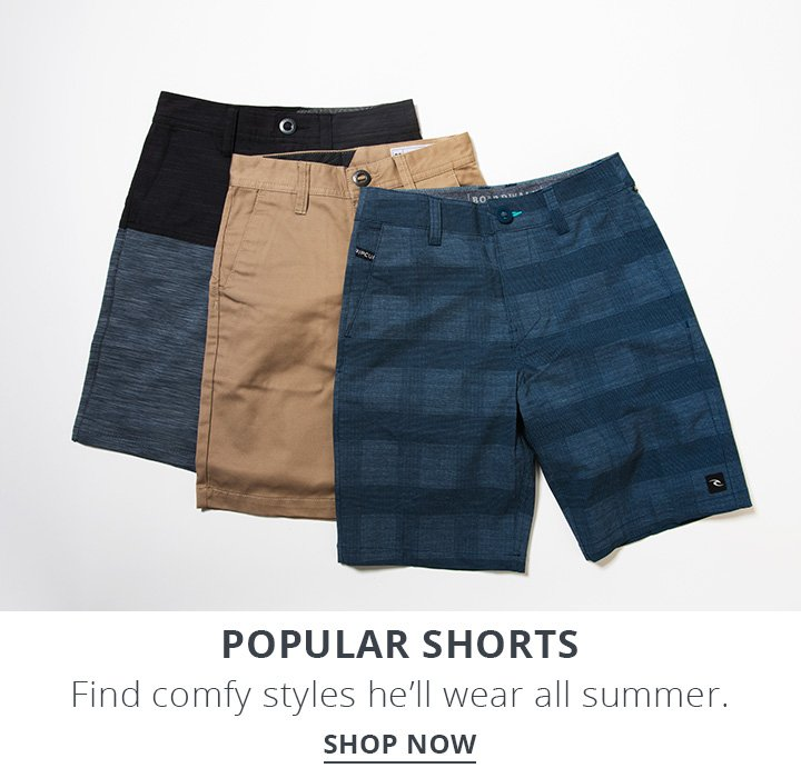 Image of boys skate shorts. Popular Shorts.Find comfy styles he'll wear all summer. Shop Now.