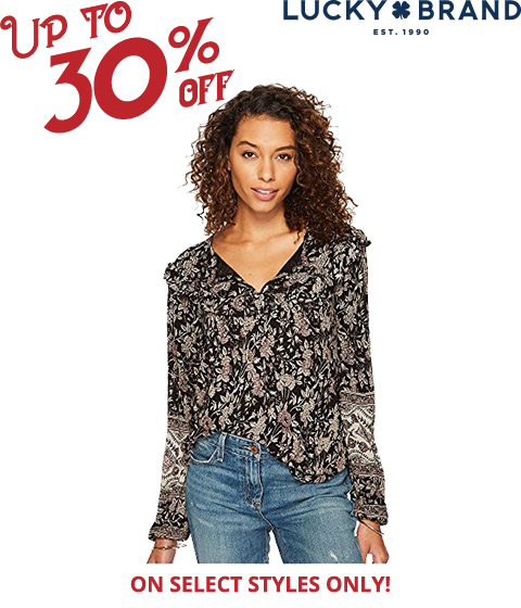 image of a woman wearing a Lucky Brand blouse