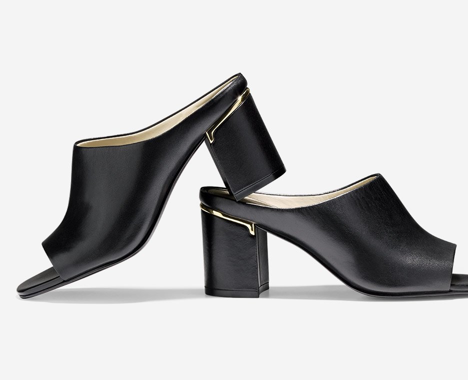 image of blocked heel mules