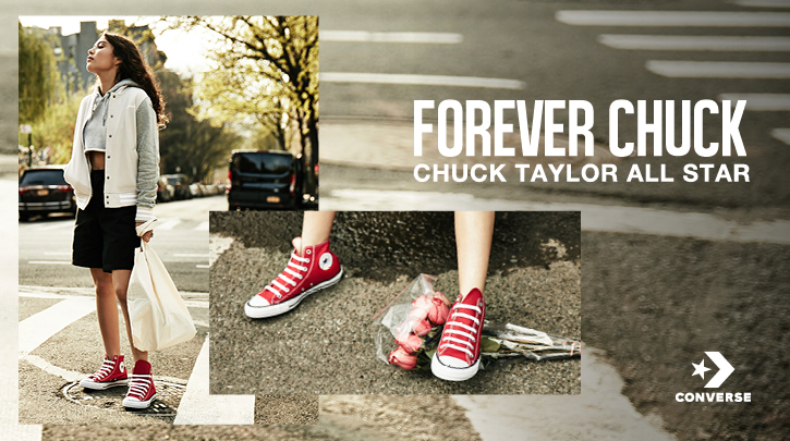 Shop all Chuck Taylor's. Image of women wearing red Chuck Taylor's