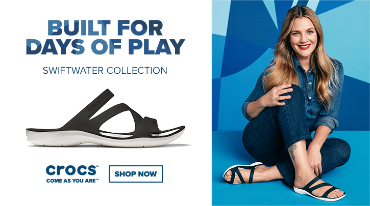 Built for days of play. Swiftwater Collection. Image of Drew Barrymore in Swiftwater Sandals.