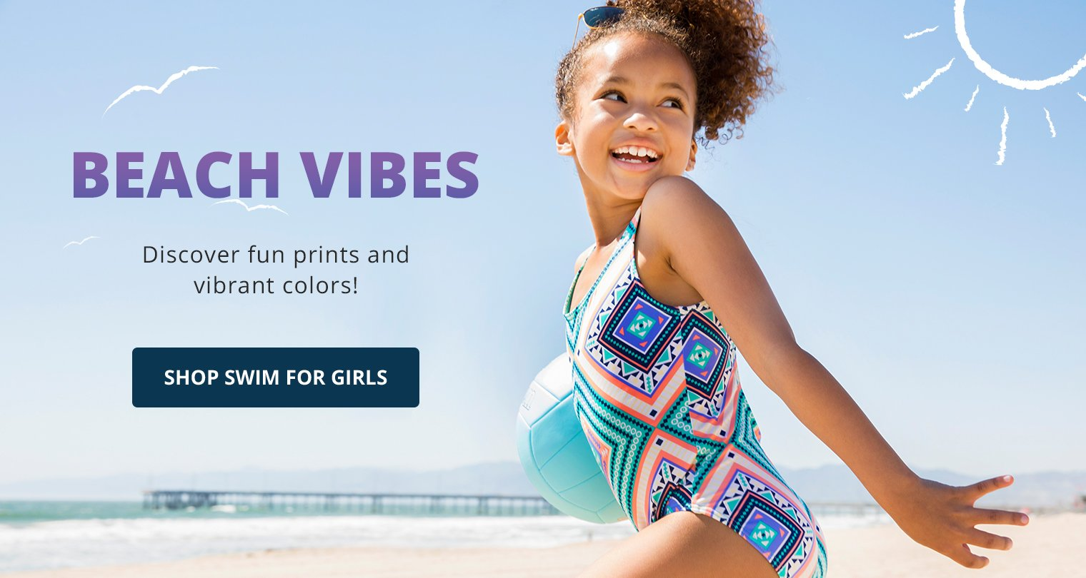 Beach Vibes. Discover fun prints and vibrant colors! Shop Swim for Girls.