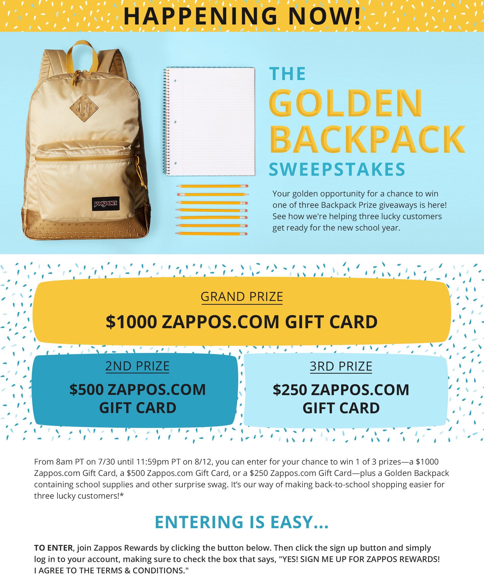 Zappos Golden Backpack Sweepstakes | Zappos com