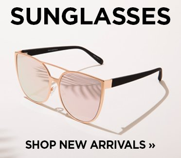 Sunglasses. Shop New Arrivals. Image of a pair of cat eye sunglasses that have a brow bar.