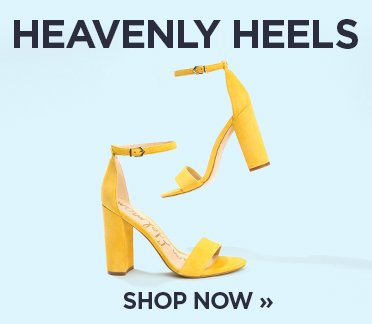 Heavenly Heels. Image of a yellow pair of strappy sandal heels. Shop Now.