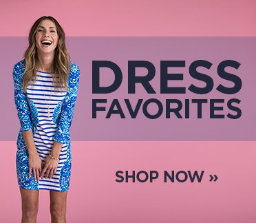 Dress Favorites. Shop Now. Image of a woman in a printed bodycon dress.