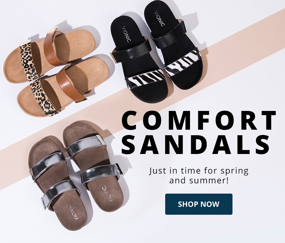 Comfort Sandals. Just in time for spring and summer! Shop Now. Image of Vionic slide sandals.