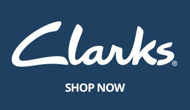 Image of the Clarks logo. Shop Now.