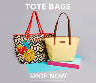 Tote Bags. Image of two tote bags. Shop Now.
