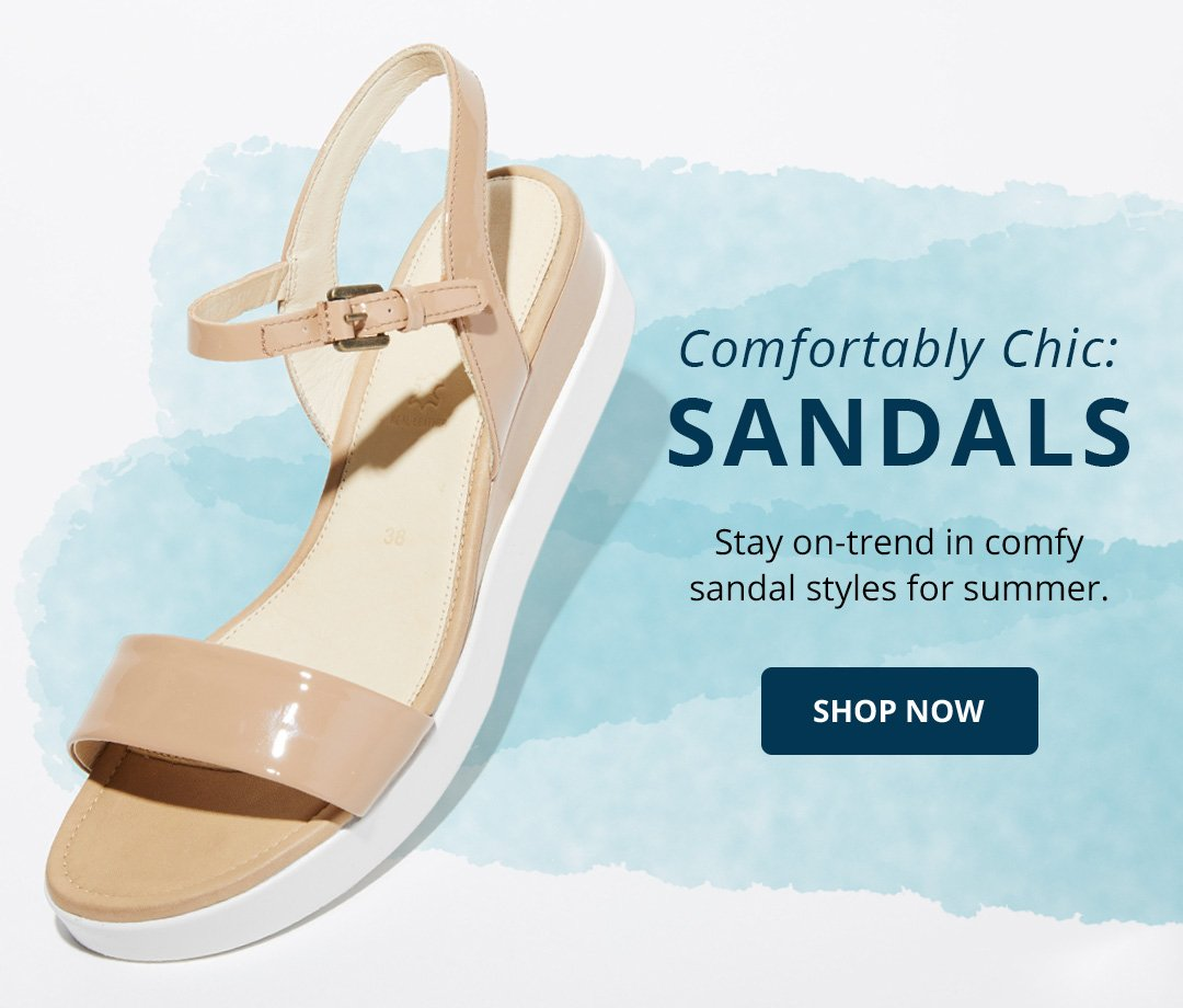 Comfortably chic sandals. Stay on-trend in comfy sandal styles for summer. Shop Now. Image of a nude platform sandal.