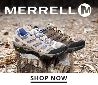 Merrell logo. Image of a mens and womens hiking shoe. Shop Now.