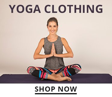 Yoga Clothing. Shop Now. Image of a woman sitting in lotus pose wearing yoga apparel.