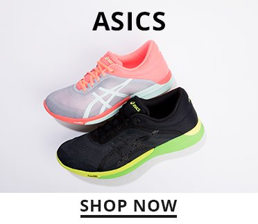 Image of two Asics running shoes. Shop Now.